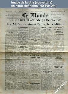 LE MONDE  numéro 203 du 12 août 1945