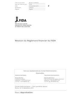 Révision du Règlement financier du FIDA Pour: Approbation