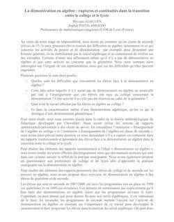 La démonstration en algèbre : ruptures et continuités dans la ...