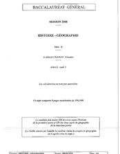 Sujet du bac S 2008: Histoire Géographie