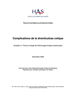 Complications de la diverticulose colique - Complications diverticulose colique - Argumentaire question 5
