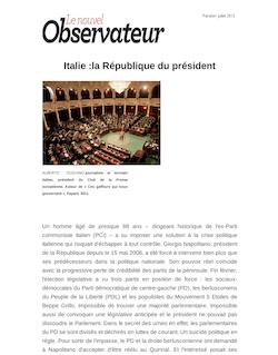 Italie:la République du président