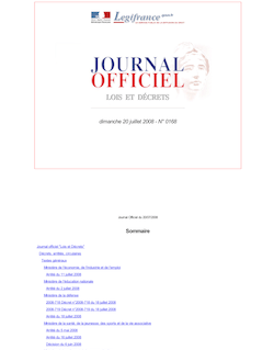 Journal officiel n°0168 du 20 juillet 2008