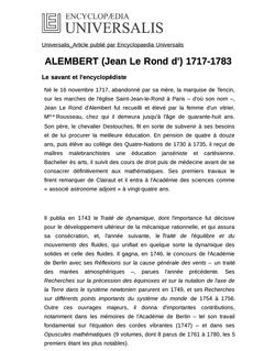 ALEMBERT (Jean Le Rond d') 1717-1783