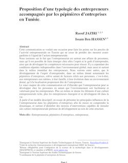 Proposition d'une typologie des entrepreneurs tunisiens ... - APREIS
