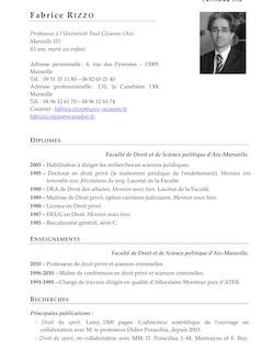 Rizzo CV II - Centre de Droit Économique Université Paul Cézanne