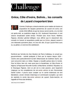 Grèce, Côte d'Ivoire, Bolivie... les conseils de Lazard s'exportent bien