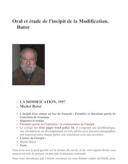 Butor, l'incipit de la modification, commentaire et oral préparé, première et deuxième partie de l'entretien de français