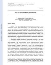 Vers une anthropologie du Confucianisme