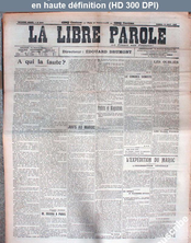 LA LIBRE PAROLE  numéro 5590 du 10 août 1907