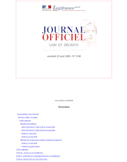 Journal officiel n°196 du 25 août 2006