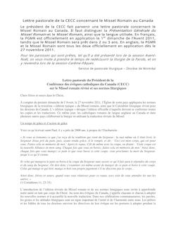 Lettre pastorale de la CECC concernant le Missel Romain au ...