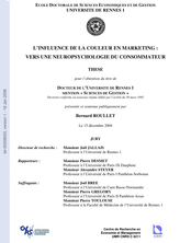 L'INFLUENCE DE LA COULEUR EN MARKETING : VERS UNE NEUROPSYCHOLOGIE DU CONSOMMATEUR