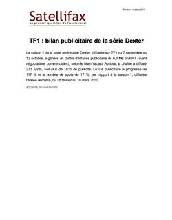 article du 14 octobre 2011 - TF1 : bilan publicitaire de la série Dexter