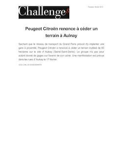 Peugeot Citroën renonce à céder un terrain à Aulnay