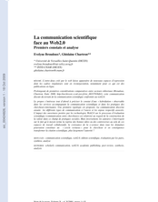 La communication scientifique face au Web2.0 : Premiers constats et analyse