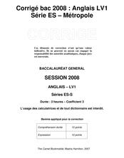 Corrigé du bac ES 2008: Anglais LV1