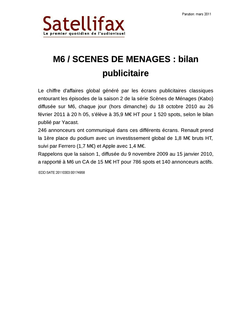 article du 03 mars 2011 - M6 / SCENES DE MENAGES : bilan publicitaire
