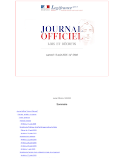 JORF n°188 du 13 août 2005