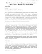 Le rôle des acteurs dans le changement professionnel : l'analyse de traces sur les listes de discussion.