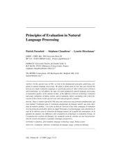 Principles of Evaluation in Natural Language Processing