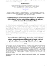 Identités génériques et apprentissages : images des disciplines et différenciation des genres disciplinaires à partir de la lecture privée et scolaire de la série Harry Potter