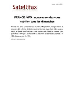 article du 09 novembre 2009 - FRANCE INFO : nouveau rendez-vous nutrition tous les dimanches