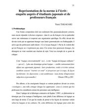 Représentation de la norme à l'écrit : enquête auprès d'étudiants japonais et de professeurs français