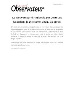 Le Gouverneur d'Antipodia par Jean-Luc Coatalem, le Dilettante, 190p., 15 euros.