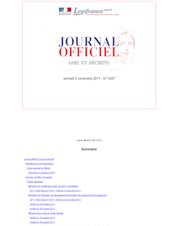 Journal officiel n°0257 du 5 novembre 2011