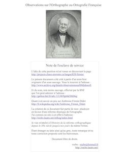Observations sur l'Orthographe ou Ortografie Française Note de l ...