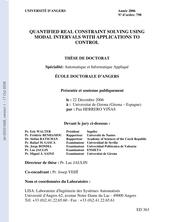 Résolution de contraintes réelles quantifiées en utilisant les intervalles modaux avec applications à l'automatique