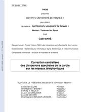 Correction centralisée des distorsions spectrales de la parole sur les réseaux téléphoniques