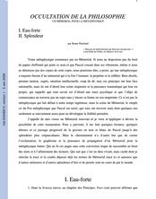 OCCULTATION DE LA PHILOSOPHIE