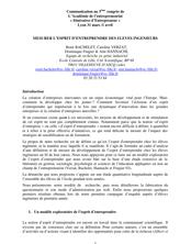 MESURER L'ESPRIT D'ENTREPRENDRE DES ELEVES INGENIEURS