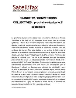 article du 10 septembre 2010 - FRANCE TV / CONVENTIONS COLLECTIVES : prochaine réunion le 21 septembre