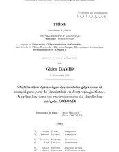 Modélisation dynamique des modèles physiques etnumériques pour la simulation en électromagnétisme.Application dans un environnement de simulation intégrée :SALOME