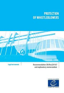 Protection of whistleblowers - Recommendation CM/Rec(2017)7 and explanatory memorandum