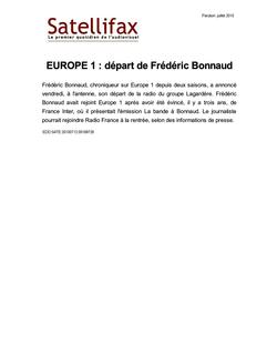 article du 12 juillet 2010 - EUROPE 1 : départ de Frédéric Bonnaud