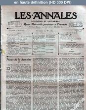 LES ANNALES POLITIQUES ET LITTERAIRES  numéro 1562 du 01 juin 1913