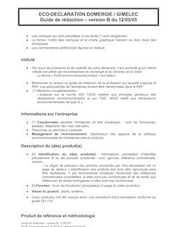 ECO-DECLARATION DOMERGIE / GIMELEC Guide de rédaction - version B ...