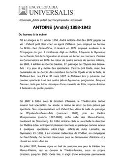 ANTOINE (André) 1858-1943