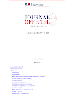 Journal officiel n°0203 du 2 septembre 2011