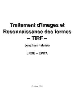 Traitement d'Images et Reconnaissance des formes – – TIRF – TIRF –