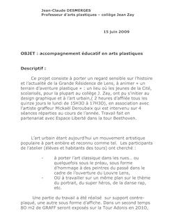 OBJET : accompagnement éducatif en arts plastiques