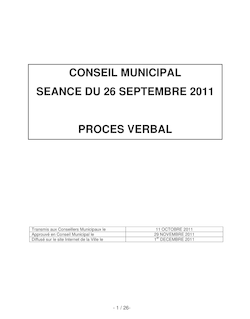 PROCES VERBAL DU 26 SEPTEMBRE