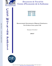 Macroeconomic Determinants of Migrants' Remittances : New Evidence from a panel VAR