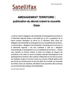 article du 16 décembre 2009 - AMENAGEMENT TERRITOIRE : publication du décret créant la nouvelle Datar