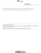 Inconscient freudien et structures formelles de la poésie - article ; n°71 ; vol.61, pg 435-466