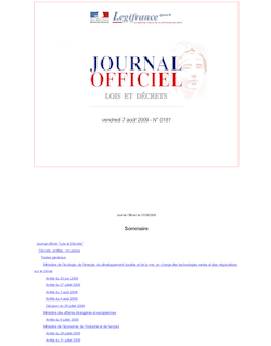 Journal officiel n°0181 du 7 août 2009